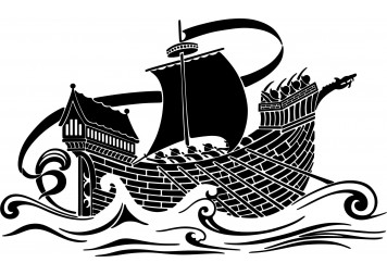 Amazing Medieval Ship Stencil Wall Decals